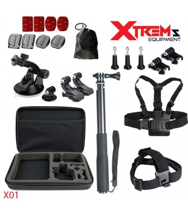 Set 22 Accesorii compatibile Gopro, Selfie Stick, Ventuza, Geanta de transport X01