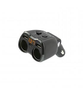 Incarcatoare Auto Adaptor splitter Tellur 2 prize bricheta auto, 2 x USB + Type-C Tellur Xtrems.ro