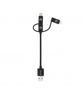 Adaptoare Cablu Braid Tellur 3 in 1 USB - Micro USB + adaptor Lightning + adaptor Type-C nylon 10cm Tellur Xtrems.ro