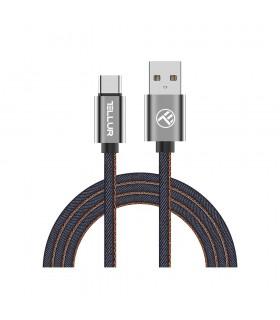 Cabluri Type-C Cablu Denim Tellur Type-C, 1m, albastru Tellur Xtrems.ro