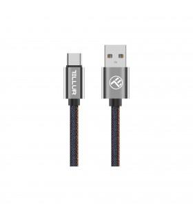 Cablu Denim Tellur Type-C, 1m, albastru