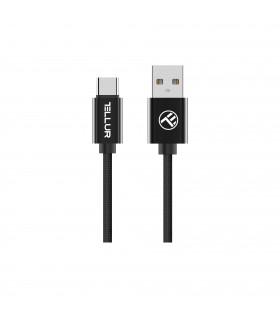 Cabluri Type-C Cablu Braid Tellur Type-C, 2m, negru Tellur Xtrems.ro