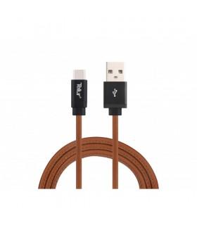 Cablu de date Tellur USB - Type-C piele naturala 1m, 3A, maro