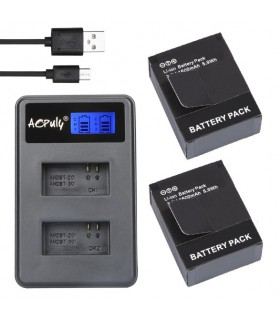 Set 2 baterii si incarcator Compatibile Gopro 3 3+ , 3.7V 1600 mAH, 2 slot-uri, Lcd