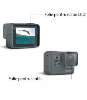Folie de sticla pentru obiectiv si ecran LCD compatibila Gopro 5, 6 si 7 Black, Silver, White