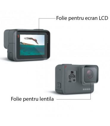 Folie de sticla pentru obiectiv si ecran LCD Gopro 5, 6 si 7 Black