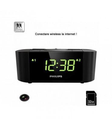 Ceas cu radio si camera ascunsa WI-FI IP P2P ascunsă, 32 Gb, 1080p, Senzor Mişcare