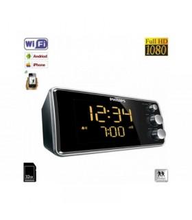 Ceas cu radio si camera ascunsa model Phillips WI-FI IP P2P Mascată, 32 Gb, 1080p, Senzor Mişcare