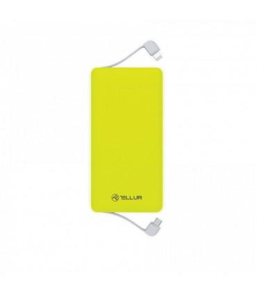 Baterie Externa Tellur 5000mAh, 2 cabluri incorporate, Verde