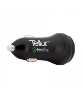 Incarcator auto TELLUR Quick Charge 3.0 (QC 3.0 + 2.4A), Negru