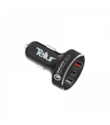 Incarcator auto TELLUR Quick Charge 3.0 (QC 3.0 + 2.4A + Type C), Negru