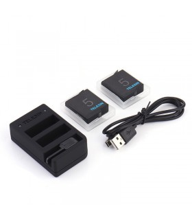 Baterii/Incarcatoare Incarcator 2 Baterii Si Slot Incarcare Telecomanda Telesin + 2 Baterii Compatibil Gopro 5,6,7,8 Black Te...