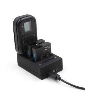 Incarcator 2 Baterii Si Slot Incarcare Telecomanda Telesin + 2 Baterii Compatibil Gopro 5,6,7,8 Black