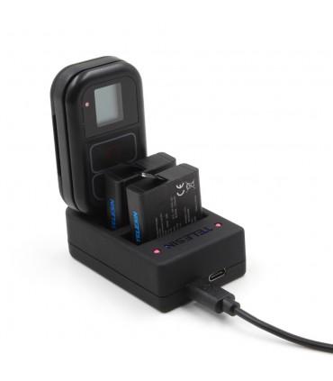 Incarcator 2 baterii si slot incarcare telecomanda + 2 baterii Compatibil Gopro 5 6 7 Black