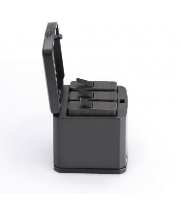 Set Incarcarcator Tip Cutie 3 slot-uri si 2 baterii Compatibil Gopro 5 6 7 Black