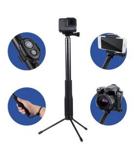 Selfie Stick Aluminiu, Tripod, Suport Telefon Si Telecomanda Bluetooth