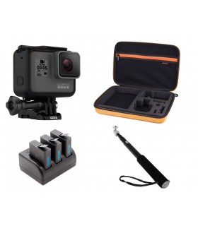 Pachet Promo 1 - Gopro Hero 5 Black, Geanta, Set Baterii Si Incarcator, Selfie Stick - Compatibile