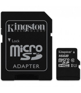 Card de memorie Kingston 16GB MicroSDHC Canvas Select 80R, Class 10, UHS-I + Adaptor SD