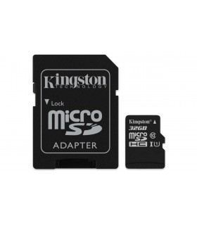 Card de memorie Kingston 32GB MicroSDHC Canvas Select 80R, Class 10, UHS-I + Adaptor SD
