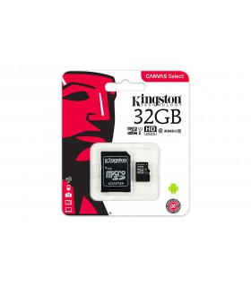 Carduri memorie Card de memorie Kingston 32GB MicroSDHC Canvas Select 80R, Class 10, UHS-I + Adaptor SD Kingston Xtrems.ro