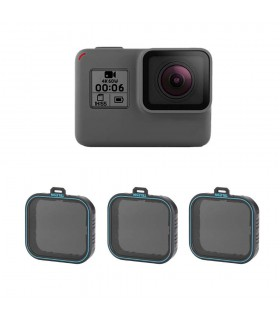 Set 3 filtre ND4/ND8/ND16 Telesin Compatibile Gopro Hero 5, 6 si 7 Black
