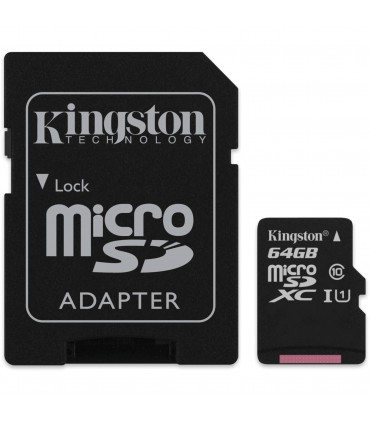 Card de memorie Kingston 64GB MicroSDHC Canvas Select 80R, Class 10, UHS-I + Adaptor SD