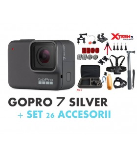 GoPro Pachet Promo 1 - Gopro Hero 7 Silver + Set 26 Accesorii Compatibile GoPro Xtrems.ro