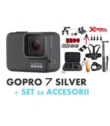 Pachet Promo 1 - Gopro Hero 7 Silver + Set 26 Accesorii Compatibile