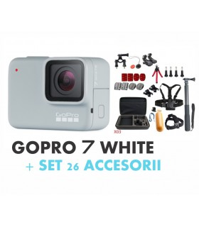 GoPro Pachet Promo 1- Gopro Hero 7 White + Set 26 Accesorii GoPro Xtrems.ro
