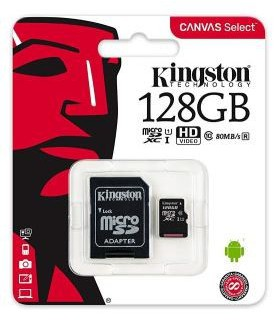 Card de memorie Kingston 128GB MicroSDHC Canvas Select 80R, Class 10, UHS-I + Adaptor SD