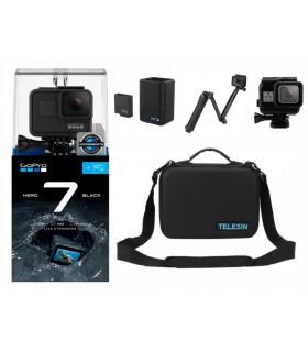 Pachet Promo 9 - Camera Gopro Hero 7 Black + Accesorii Compatibile - Geanta, Incarcator si baterie, Carcasa, Selfie Stick