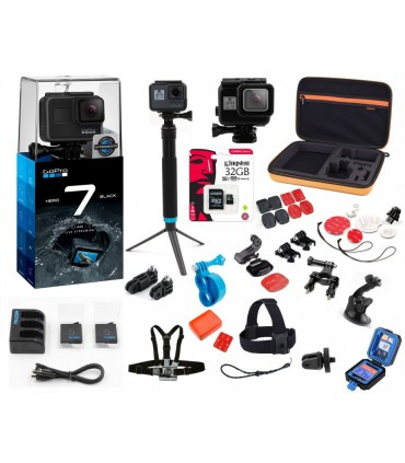 Pachet Gopro 7 Black Ultimate - Set 35 Accesorii Compatibile ,Card Kingston 32 Gb, Incarcator Si 2 Baterii, Carcasa Carduri