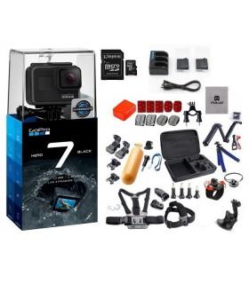 GoPro Pachet Promo 7 XTREME - Gopro 7 + Set 37 Accesorii Compatibile, Set Baterii, Card 64Gb, Folie Protectie , Carcasa Skele...