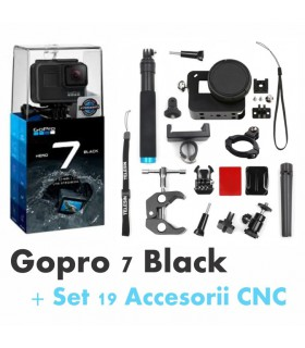 Gopro Hero 7 Black + Set 19 Accesorii Compatibile CNC
