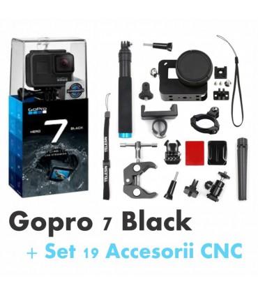 Gopro Hero 7 Black + Set 19 Accesorii Compatibile CNC