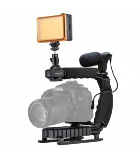 Sisteme Prindere Set Stabilizator, Lampa Led Si Microfon Pentru DSLR / Camere Video Sport PULUZ Xtrems.ro