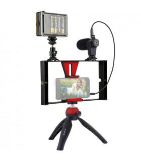 Trepied Set VLogging Pentru Telefon - Trepied, Lampa Led , Microfon PULUZ Xtrems.ro