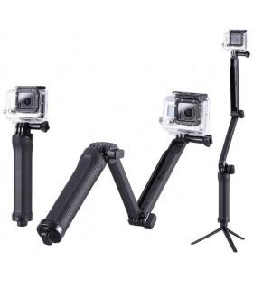 Selfie stick 3 tronsoane + mini trepied compatibil Gopro