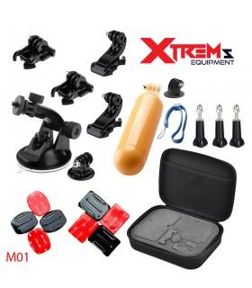 Set 20 Accesorii compatibile Gopro , Ventuza, Geanta de transport, J-hook M01