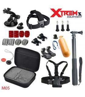 Set 25 Accesorii Gopro , Sjcam, Xiaomi - Geanta transport, Selfie Stick M05