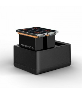 Baterii/Incarcatoare Set 2 Baterii Si Incarcator 3 Slot-uri Telesin Compatibil DJI Osmo Action Telesin Xtrems.ro