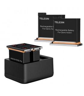 Set 2 Baterii Si Incarcator 3 Slot-uri Telesin Compatibil DJI Osmo Action