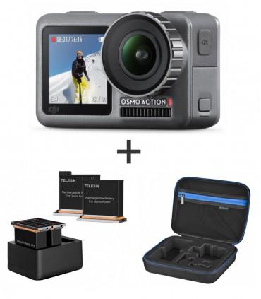 Camera Sport DJI Osmo Action - Set 2 Baterii Si Incarcator + Geanta Transport