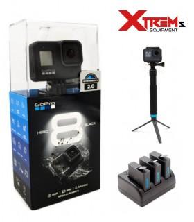 GoPro Hero 8 Black - Set 2 Baterii + Incarcator Si Selfie Stick Aluminiu 90 Cm