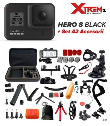 Pachet Promo GoPro Hero 8 Black + Set 42 Accesorii Cu Geanta Si Lanterna Led